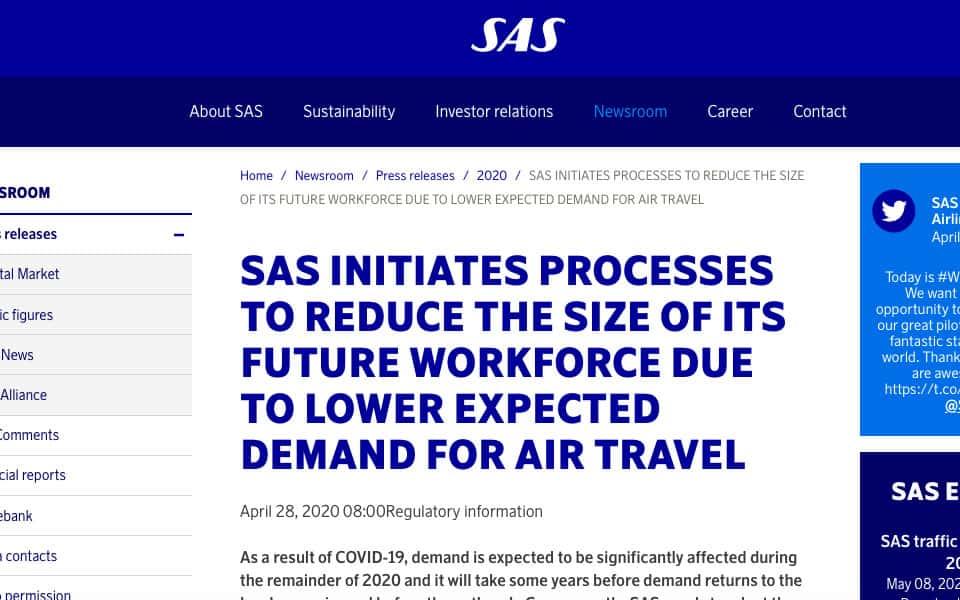 SAS fyrer 5000 medarbejdere - flyvere.dk